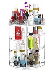 Adjustable 360° Rotating Makeup Organizer Holder, Transparent Spinning Cosmetic Storage Tower Wi ...