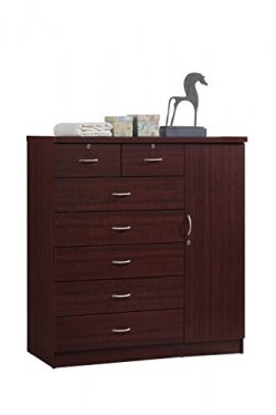 Hodedah 7 Drawer Jumbo Chest, Five Large Drawers, Two Smaller Drawers with Two Lock, Hanging Rod ...