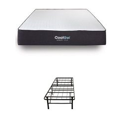 Classic Brands Cool Gel Ventilated Gel Memory Foam 10.5-Inch Mattress with Hercules 14-Inch Heav ...