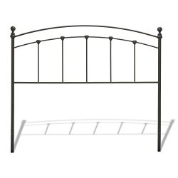 Sanford Metal Headboard with Castings and Round Finial Posts, Matte Black Finish, Full