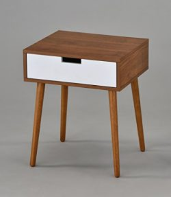 Light Walnut/White Side End Table Nighstand with Drawer 22.5″H