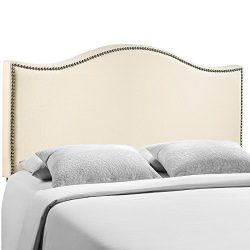 Modway Curl Upholstered Linen Headboard Queen Size With Nailhead Trim and Curved Shape In Ivory