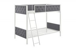 DHP Chesterfield Upholstered Linen Bunk Bed, Twin Size – White Metal/ Grey Upholstery