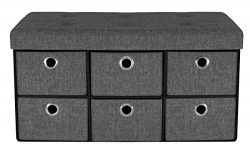 Sorbus Storage Bench Chest with Drawers – Collapsible Folding Bench Ottoman includes Cover – Per ...