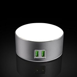 USide Smart LED Desk Lamp,Phone charger,Dimmable Bedside Lamp / Nightstand Lamp with 3-Level Bri ...