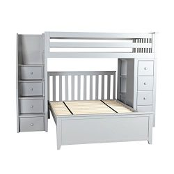 Jackpot! Deluxe All-in-One Solid Wood Staircase Loft Bed + Dresser over Full-Size Bed, Grey