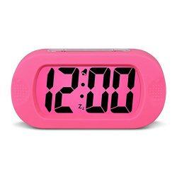 HENSE Large Digital Display Alarm Clock and Snooze/ Nightlight Travel Alarm Clock and Home Bedsi ...