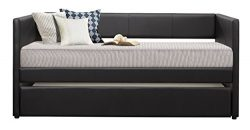 Homelegance Adra Fully Upholstered Daybed with Roll Out Trundle Bi-cast Vinyl Twin, Black