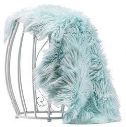 Chanasya Super Soft Faux Fur Fake Sheepskin blue Sofa Couch Stool Casper Vanity Chair Cover Rug  ...