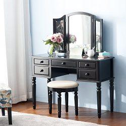 Merax Vanity Set w/ Stool Make-up Dressing Table Bedroom Dressing Table (black)