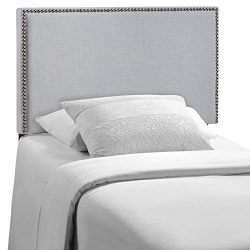 Modway Region Upholstered Linen Headboard Twin Size With Nailhead Trim