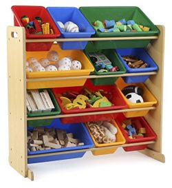 Tot Tutors Kids' Toy Storage Organizer with 12 Plastic Bins, Natural/Primary (Primary Coll ...
