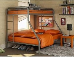 Sturdy Kids Sturdy Twin Over Full Metal Bunk Bed with Stairs. This Durable Steel Frame Bunk Bed  ...