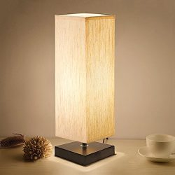 Bedside Table Lamp, Aooshine Minimalist Solid Wood Table Lamp Bedside Desk Lamp With Square Flax ...