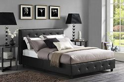 DHP Dakota Platform Bed with Tufted Upholstery in Faux Leather, Stylish Headboard, Includes Side ...