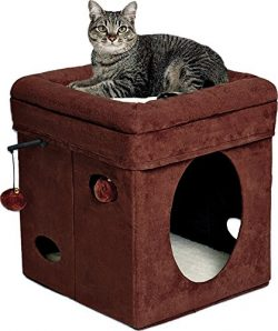 """MidWest """"The Original"""" Curious Cat Cube, Cat House / Cat Condo in Brown Faux Suede & ..."""