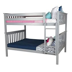 Max & Lily Solid Wood Full over Full Bunk Bed, Grey