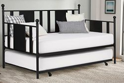 Daybed With Trundle / No box Spring Required / Premium Sturdy Slats w/ Rich Jet Black Finish / M ...