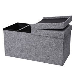 SONGMICS Folding Storage Ottoman Bench with Lift Top, Storage Chest with Iron Frame Support, Dar ...