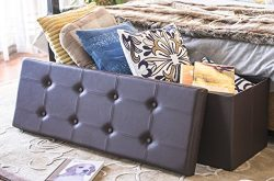 Finnhomy Folding Storage Ottoman Bench, Toy and Shoe Chest Faux Leather Seat & Foot Rest, 43 ...