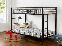 Zinus Easy Assembly Quick Lock Twin over Twin Classic Metal Bunk Bed with Dual Ladders / Quick t ...