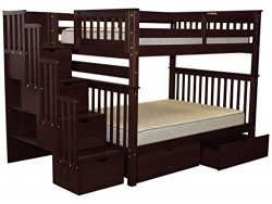 Bedz King Stairway Bunk Beds Full over Full with 4 Drawers in the Steps and 2 Under Bed Drawers, ...