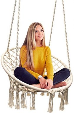 Sorbus Hammock Chair Macrame Swing, 265 Pound Capacity, Perfect for Indoor/Outdoor Home, Patio,  ...