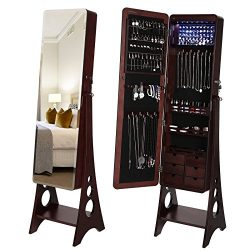SONGMICS 8 LEDs Jewelry Cabinet with Bevel Edge Mirror Lockable Standing Armoire Organizer with  ...