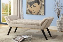 Wholesale Interiors Tamblin Mid-Century Retro Linen Fabric Upholstered Grid-Tufting 50″ Be ...