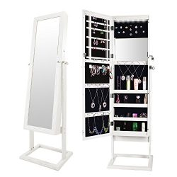 Bonnlo Jewelry Armoire Cabinet 6 LEDs,Full Length &Inside Mirror,Lockable 4 Angle Adjustable ...