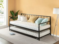 Zinus Newport Twin Daybed and Trundle Set / Premium Steel Slat Support / Daybed and Roll Out Tru ...