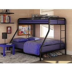 Dorel Twin Over Full Bunk Bed Metal Durable Steel Frame Construction Space-Saving Design – ...