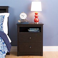 Prepac Sonoma 2 Drawer Nightstand, Washed Black