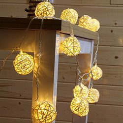 30 White Rattan Ball String Lights Battery Operated 30 Warm White Led Wedding Indoor Decoration  ...