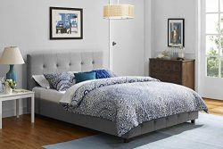 DHP Platform Bed, Rose Linen Tufted Upholstered Platform Bed – Includes Button Tufted Upholstere ...