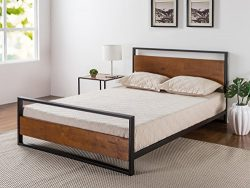 Zinus Ironline Metal and Wood Platform Bed with Headboard and Footboard / Box Spring Optional /  ...