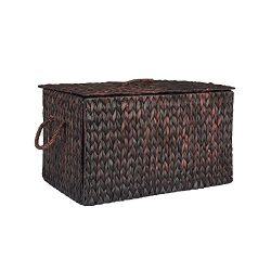 Household Essentials ML-6615B Extra Large Wicker Storage Box with Lid – 15.94″H x 27 ...