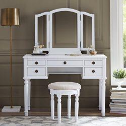Fineboard Dressing Set with Stool Beauty Station Makeup Table Three Mirror Vanity Set, 5 Organiz ...