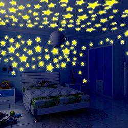 Elaco 100PC Kids Bedroom Fluorescent Glow In The Dark Stars Wall Stickers (Yellow)