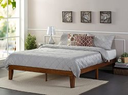 Zinus 12 Inch Wood Platform Bed / No Boxspring Needed / Wood Slat support / Cherry Finish, Queen
