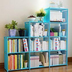 Adjustable Korean Style Home Furniture Book Storage Shelf Kids' 4 Tier 9 Shelves (Blue),F ...