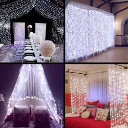 Curtain Lights – SurLight 9.8ft*9.8ft 306LEDs Window Icicle Lights with 8 Lighting Modes,  ...