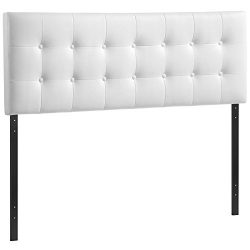 Modway Emily Upholstered Tufted Button Fabric Queen Size Headboard In White