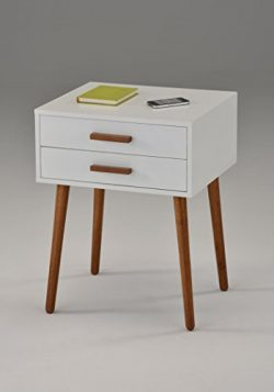 White / Dark Oak Finish Side End Table Nighstand with Two Drawer 24″H – Mid-Century  ...