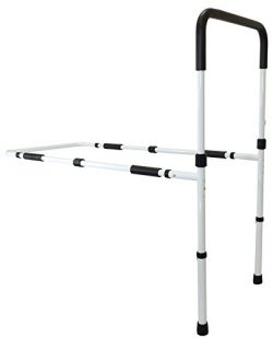 Secure EZBR-1W Bed Assist Hand Rail with Adjustable Floor Support and Safety Strap – Tall  ...