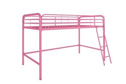 DHP Junior Loft Bed Frame With Ladder, Multifunctional Space-Saving Design, Pink