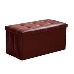 InSassy Folding Storage Ottoman Bench Foot Rest Toy Box Hope Chest Faux Leather – Medium & ...