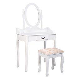 Giantex White Bathroom Vanity Jewelry Makeup Dressing Table Set W/Stool Mirror Wood Desk (1 Drawer)