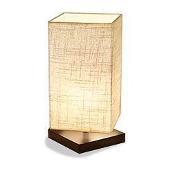 ZEEFO Simple Table Lamp Bedside Desk Lamp With Fabric Shade and Solid Wood for Bedroom, Dresser, ...