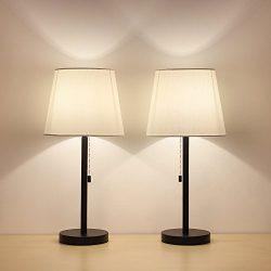 HAITRAL Table Lamp Set of 2 Modern Desk light Black Nightstand Lamps